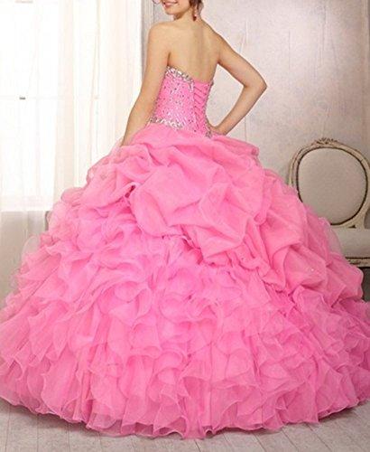 lang Sweet Ballkleid Organza Pink Heart Damen emmani aUwPFqBZ
