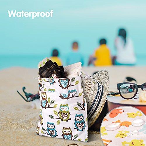 Wet Dry Bag Splice Cloth Diaper Wet Bags Waterproof Double Infant Stroller Travel Small Size Zipper Snap Handing for Swimwear Bathing Suit Baby Kids Reusable (Giraffe and Owls)