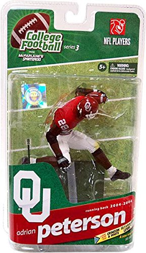 - McFarlane Toys NCAA COLLEGE Football Sports Picks Series 3 Action Figure Adrian Peterson (Oklahoma Sooners) Red Jersey Silver Collector Level