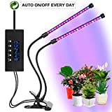 Grow Light for Indoor Plants, 2018 Latest Cycle Timing Function (Auto ON/OFF) Dual Head 40 LED (20w)with Red/Blue Spectrum, 5 Dimmable Levels,3 Working Modes, Flexible 360 Degree Gooseneck for Indoor Plants Seeding Growing [CLTEC]