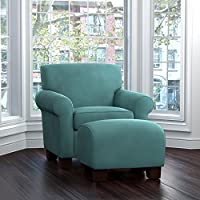 ProLounger Winnetka Velvet Chair and Ottoman, Turquoise Blue