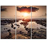 Design Art PT11023-3P Rocky Coastline Sunset Africa - Oversized Beach Canvas Artwork - 36x28in - Multipanel 3Piece,Brown,36x28 3Piece