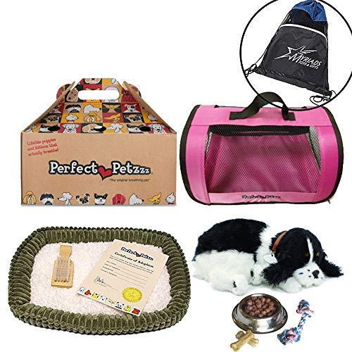 - Perfect Petzzz Huggable Breathing Puppy Dog Pet Bed Cocker Spaniel with Pink Tote For Plush Breathing Pets, Dog Food, Treats, and Chew Toy