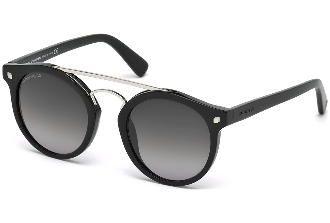 DSQUARED2 DQ0202 01B 50, Monturas de Gafas Unisex Adulto, (Negro Lucido\\Fumo Grad), 50.0