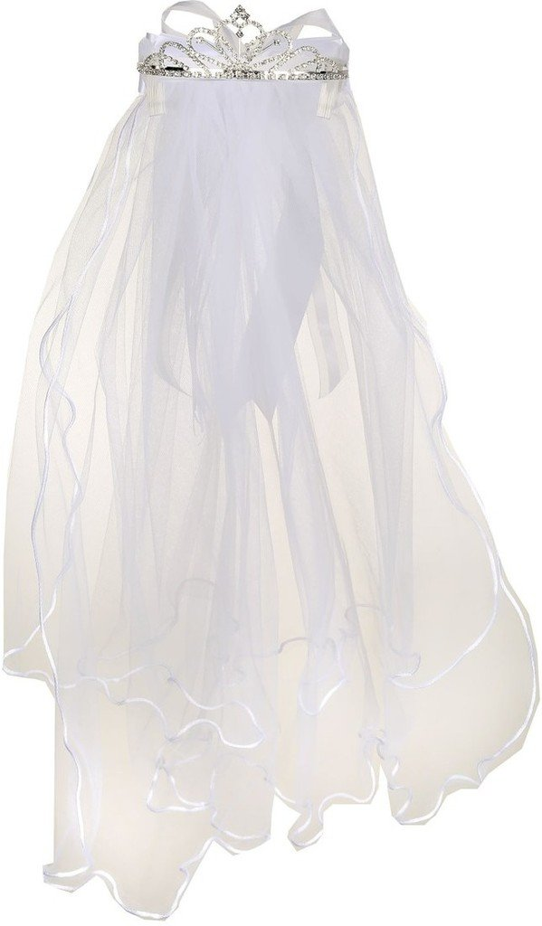Flower Girl First Communion Veil Two Layers Tulle & Tiara Attach White TR T109