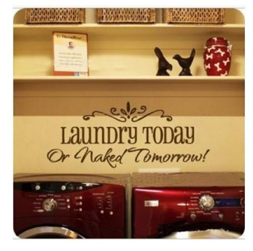 Picniva Removable Laundry Room Quote Decal Art Vinyl Wall Sticker Paper Lettering Black