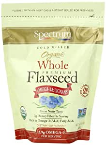Spectrum Essentials Organic Whole Flaxseed, 15 Ounce (Pack of 6)