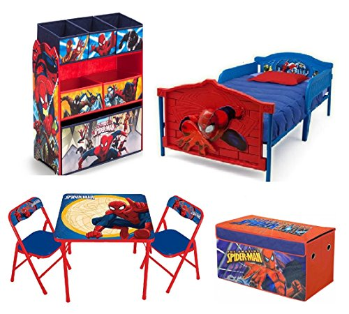 Marvel Spider Man Toddler Bedroom Bundle Set 3D Bed Toy Bin Organizer Activity Table Chairs Storage Trunk