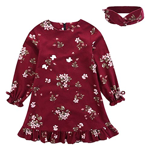Happy Town Baby Teen Girls Casual Floral Princess Dress Headband Set Long Sleeves Blue Claret 1-7T (Claret, 2T) -