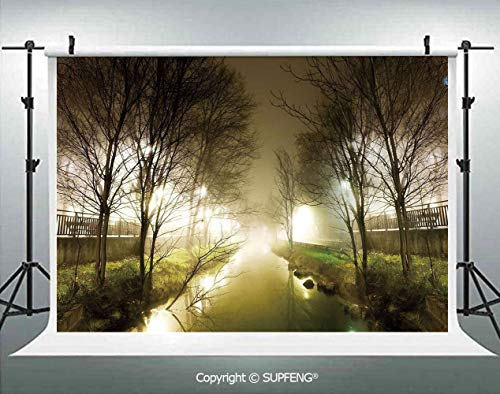 Photography Backdrops Water Channel Foggy Weather Trees Grass City Street at Winter Night Mystery 3D Backdrops for Photography Backdrop Photo Background Studio Prop]()