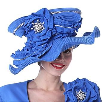 88d0ab50d4 Kueeni Women Church Hats New Designed Royal Blue Ladies Elegant at Amazon  Women's Clothing store: