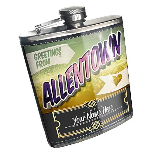 Neonblond Flask Greetings from Allentown, Vintage Postcard Custom Name Stainless Steel