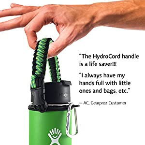 Handle for Hydro Flask 18 oz, 32 oz and Nalgene Water Bottles, Top Rated Paracord Holder includes Worry-free HydroCord Strap Guaranteed to Stay On, Won't Drop (Citron)
