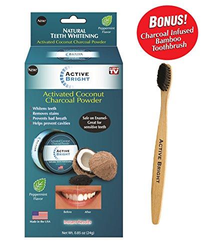 Active Bright Charcoal Teeth Whitening Powder w/ Bonus Bamboo Toothbrush - Original As Seen on TV