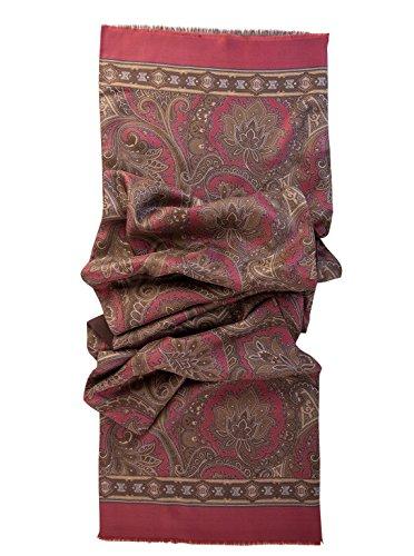 Elizabetta Men's Italian Silk Scarf - Paisley Print - Soft Wool Lined-Burgundy & Brown by Elizabetta (Image #2)