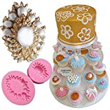 Anyana Jewel brooch mold Silicone Cupcake Baking Molds wedding party Fondant molds diamond Cake Decorating Tools pearl Gumpaste Chocolate Candy Clay Moulds Non stick easy to use