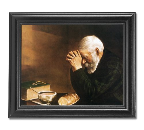 Daily Bread Man Praying At Dinner Table Grace Religious Wall Picture Framed Art - Men Pictures Vintage