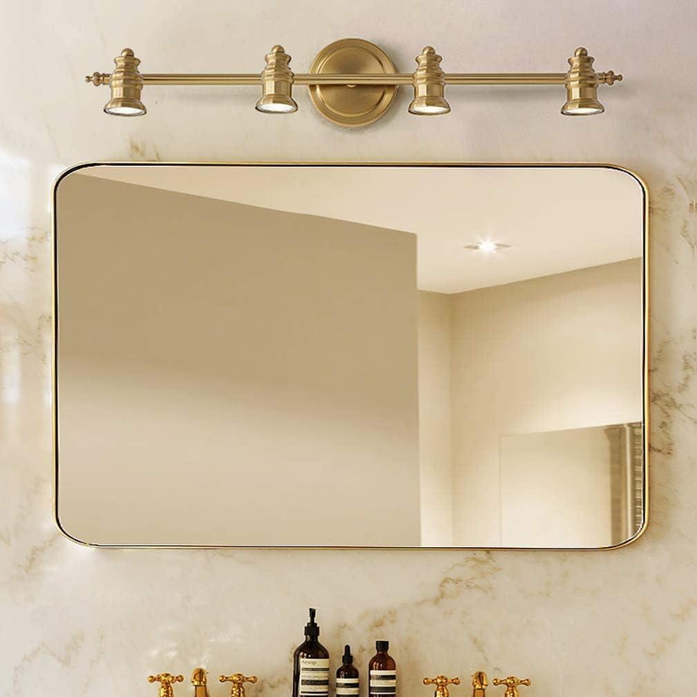 cabeza 2 L/ámparas de espejo LED vintage Apliques giratorios creativos Luz cl/ásica de espejo de lat/ón L/ámpara de espejo n/órdico para ba/ño con focos LED IP 44 18cm de la pared