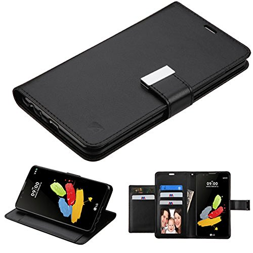 Bicast 2 (LG G Stylus 2 Case, Stylo 2 Case, JoJoGoldStar 5 Card Bicast PU Leather Folio Wallet with Magnetic Flap and Kickstand, Comes with Screen Protector and Stylus - Black)