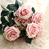SEEYANG Roses Artificial Flowers 10 Heads Bouquet, Silk Fake Flowers Vintage Décor for Wedding, Home, Party (Dark Pink)