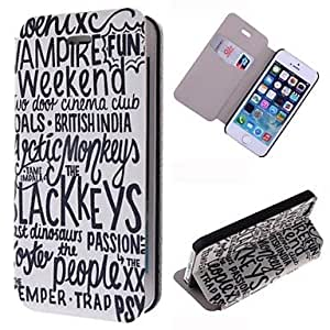 TOPMM Many Words Pattern PU Full Body Case with Card Slot for iPhone 5/5S
