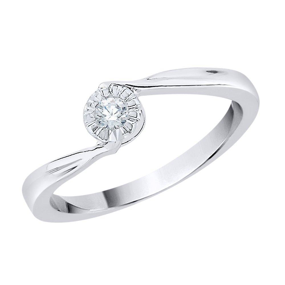 Diamond Solitaire Promise Ring in Sterling Silver (1/10 cttw) (GH Color, I2-I3 Clarity) (Size-4)