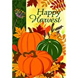 Lantern Hill Happy Harvest Fall House Flag; Double Sided; 28 x 40 inches; Pumpkins Autumn Leaves Seasonal Decorative Banner