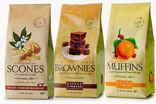 Sticky Fingers Premium All Natural Variety Sampler Trio Bundle Mix (Cranberry Orange Muffin, Chocolate Fudge Brownie, Lemon Glazed Gingerbread Scone)
