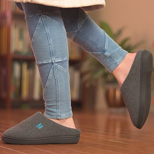 RockDove Women's Two-Tone Memory Foam Slipper, Size 9-10 US Women, Dark Gray/Blue