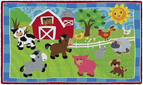 - Flagship Carpets CE417-12W Cutie Barnyard, Children's Classroom Nursery Rug, Rectangle, 3'x5'
