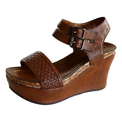 Pierre Dumas Hester-12 Women's Vegan Leather Double-Buckle Rounded-Toe Wedge Sandals,Whiskey,8.5 ()
