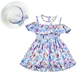CIELARKO Girls Dress Summer Children Flower Holiday Dresses with Hat for 2-8 Years (Blue, 3-4 Years)