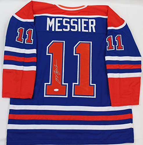 Mark Messier Autographed Oilers - Mark Messier Autographed Blue Oilers Jersey - Hand Signed By Mark Messier and Certified Authentic by JSA - Includes Certificate of Authenticity