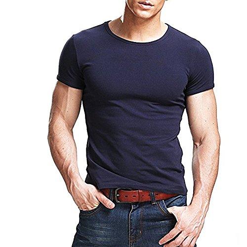 T Manica Colore Girocollo Per Modale Classici Blu Navy Butterme Cotone Base Solido shirt Uomo Camicia Corta Di qwn0z4