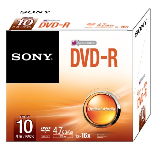 Sony 10DMR47SS 16x DVD-R 4.7GB Recordable DVD Media - 10 Pack by Sony