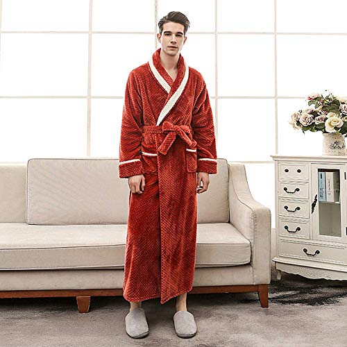 super caldo uomo Sleepwear tasche Da inverno Blue da XXX Dimensioni vestaglia Red coppia doccia camicia peluche donna Housecoat da con flanella notte Plus morbido intera Colored lunghezza Solid cesto xBxvXq6w