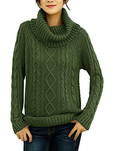 v28 Women's Korean Design Turtle Cowl Neck Ribbed Cable Knit Long Sweater Jumper (ArmyGreen,L)