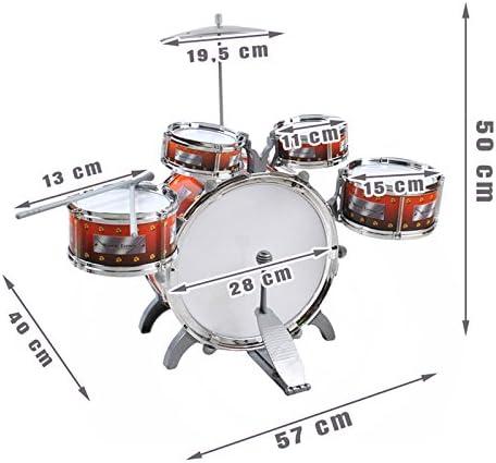 ISO TRADE Batteria per Bambini XL z con 5 percussioni e Sgabello Batteria per Bambini Strumento a percussione 1551