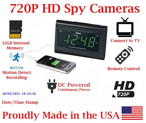 [100% COVERT] SecureGuard HD 720p USB Charger & Clock Radio Spy Camera Covert Hidden Nanny Camera Spy Gadget with 32GB Micro SD Card by AES Spy Cameras