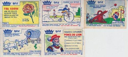 Fleer Bubble Gum (Vintage Fleer Quiz Bubble Gum Comic 5 Comic Lot #212,285,301,373)