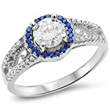 Sterling Silver Halo Solitaire Cubic Zirconia & Simulated Sapphire Ring Sizes 4-10