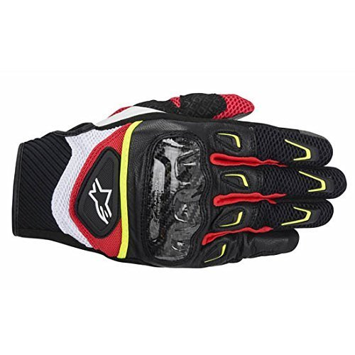 NEW ALPINESTARS SMX-2 AIR CARBON ADULT LEATHER GLOVES, BLACK/WHITE/YELLOW/RED, 2XL/XXL