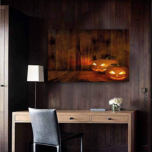 Gabriesl Retro Poster Decorative Painting Pumpkin Scary Jack o Lanterns Grin Room Bedside Size : W28 x H20