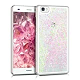 kwmobile hardcase Cover for Huawei P8 Lite (2015) with Liquid - hardcase backcover Protective case Water with Stars Snow Globe in Light Pink/Transparent
