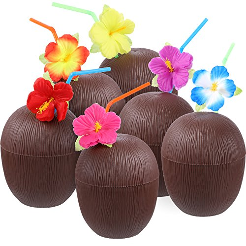 Gejoy 12 Pieces Hawaiian Luau Plastic Coconut Cups with Hibiscus Flower Bendable Straws for Beach Theme Party Supplies (Coconut Glasses)