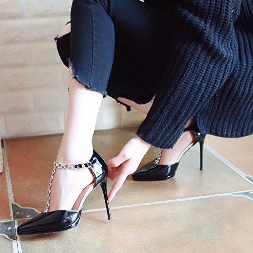 Une Amende Souligné Verni Hauts Avec En Black Chaussures Diamant Talons A Cuir À Spring Un Zhudj Boucle vU4qnz7