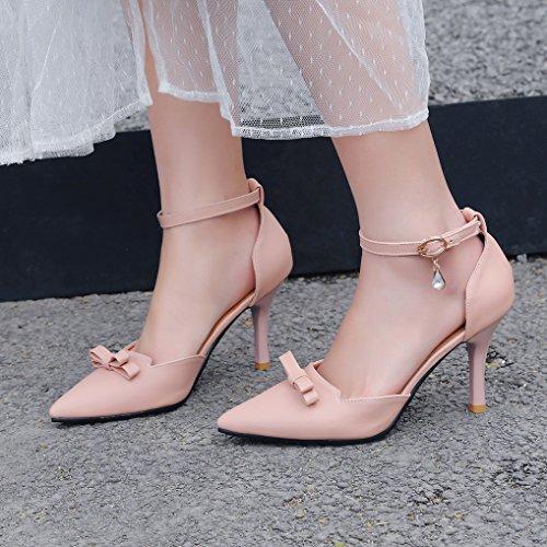 Pointu Talon 32 Escarpins Cheville 43 Nœud Clair Femme Chaussures Bride Oaleen Hauts Bout Aiguille Rose dUPEqnT0xw