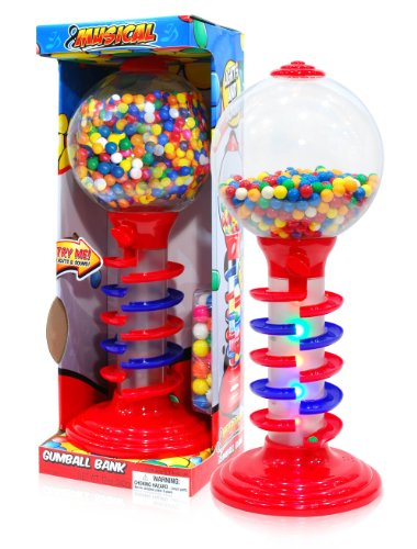 Gum Bubble Dispenser - Sweet N Fun Light and Sound Spiral Gumball Bank with 340G Gumballs, 21
