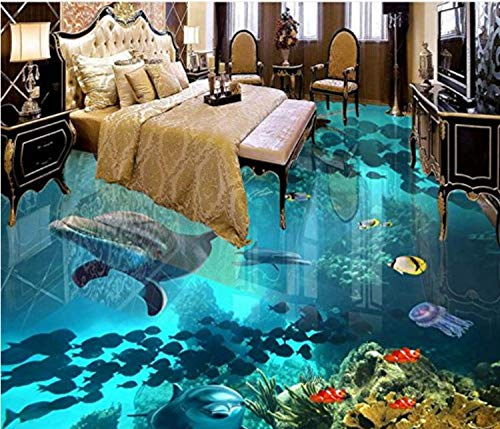 Sykdybz Customized Vinyl Flooring Water Proof 3D Murals Wallpaper for Living Room The Underwater World Wallpaper Modern 3D Flooring,200x100cm