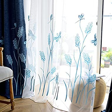 Melodieux Wheat Embroidery Sheer Window Rod Pocket Top Voile Curtains for Living Room 52 by 84 Inch White/Blue 1 Panel